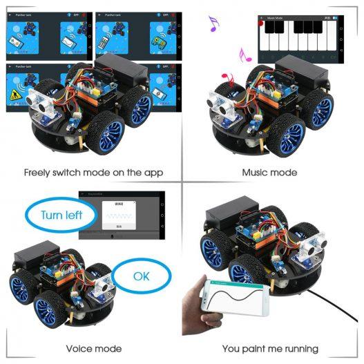 4WD Smart Robot Car Diy for Arduino R3 Starter Robotics Learning Kit APP RC STEM Toy 3