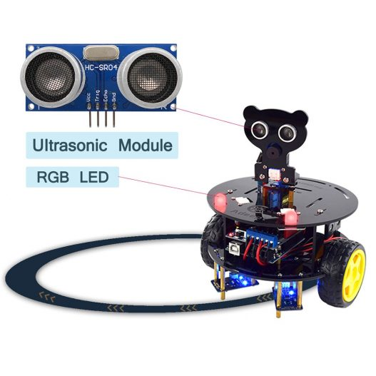 Adeept 3WD Bluetooth Smart Robot Car Kit Stem Arduino Starter Learning Kit for Arduino R3 with 2