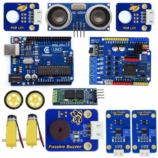 Adeept 3WD Bluetooth Smart Robot Car Kit Stem Arduino Starter Learning Kit for Arduino R3 with 3