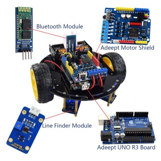 Adeept 3WD Bluetooth Smart Robot Car Kit Stem Arduino Starter Learning Kit for Arduino R3 with 4
