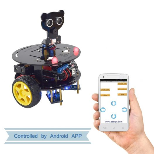 Adeept 3WD Bluetooth Smart Robot Car Kit Stem Arduino Starter Learning Kit for Arduino R3 with