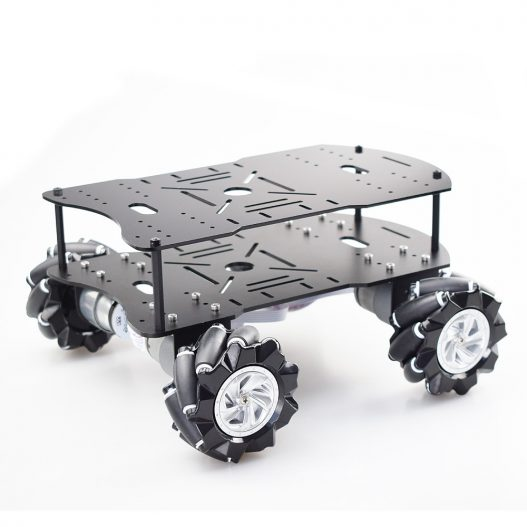 Double layer 4WD 80mm Mecanum Wheel RC Robot Car Chassis with DC 12V Encoder Motor for 2