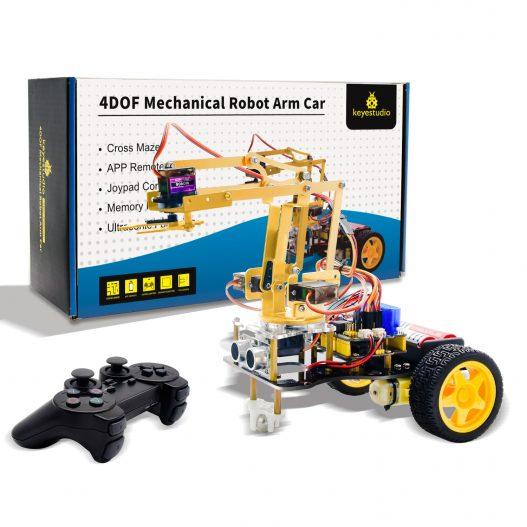 Keyestudio 4DOF Mechanical Arm Robot Car Learning Starter Kit W PS2 Contoller for Arduino Robot Support 1