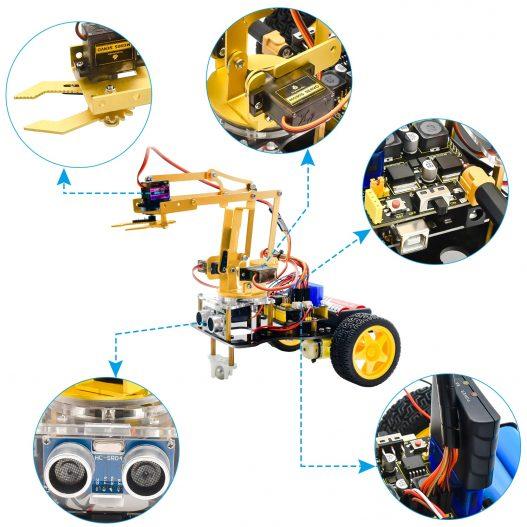 Keyestudio 4DOF Mechanical Arm Robot Car Learning Starter Kit W PS2 Contoller for Arduino Robot Support 2