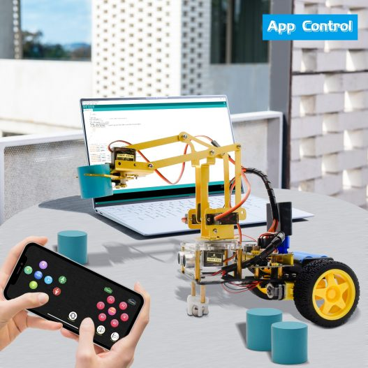 Keyestudio 4DOF Mechanical Arm Robot Car Learning Starter Kit W PS2 Contoller for Arduino Robot Support 4