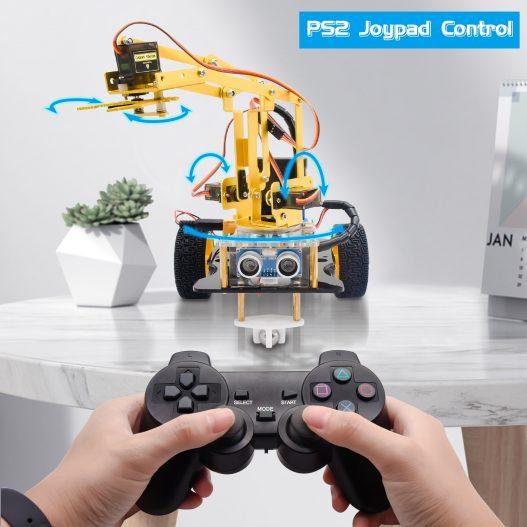 Keyestudio 4DOF Mechanical Arm Robot Car Learning Starter Kit W PS2 Contoller for Arduino Robot Support