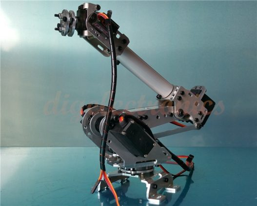 Sliver 6Dof Mechanical Robot Arm Full Steel Bearing Arm Claw With Servos For Arduino Robotics DIY 3