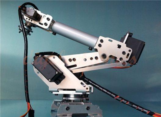 Sliver 6Dof Mechanical Robot Arm Full Steel Bearing Arm Claw With Servos For Arduino Robotics DIY