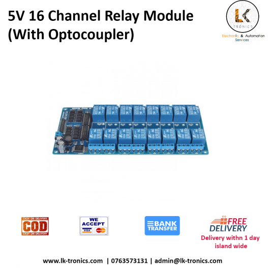 5V 16 Channel Relay Module Interface Board With Optocoupler